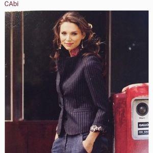 CABI JOEY gray pinstripe blazer mended lining